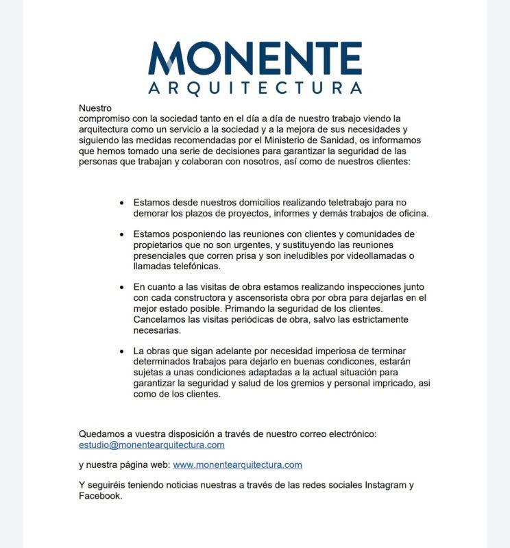 Comunicado COVID 19 - Monente Arquitectura